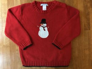 Janie-and-Jack-Snowman-Sweater-2T-Boys-Christmas-Winter-Holiday-Red-Toddler