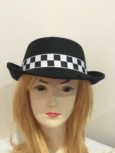 Lady English Cop Cap British Police Hat black and white/Costume/ Party