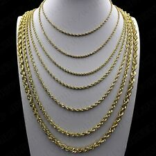 Real 10K Yellow Gold 2mm - 6mm Diamond Cut Rope Chain Pendant Necklace 16- 30