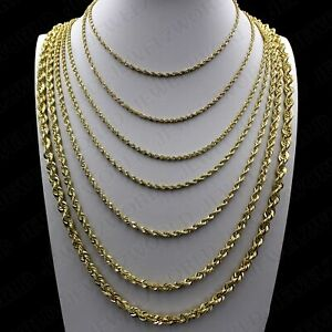 Real-10K-Yellow-Gold-2mm-6mm-Diamond-Cut-Rope-Chain-Necklace-Bracelet-16-034-30-034
