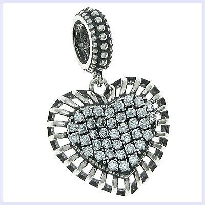 Sterling Silver Valentine Heart Clear CZ Dangle Bead for European Charm Bracelet