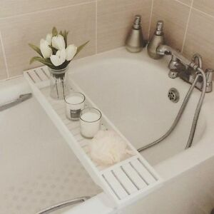 Details About Over The Bath Tub Rack Bar Bridge Tray Board Caddy Wooden White Wood Storage