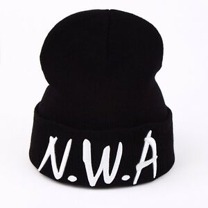66f25cc8 Image is loading Black-NWA-Letter-Beanie-Hat-Compton-Vintage-Embroidered-