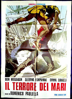 "GUNS OF THE BLACK WITCH ORIG ITALIAN 2-Fogli39"" x 55"" WWII-Pirate Film"