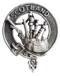 Scotland Bagpipes Pewter Cap Badge Pin