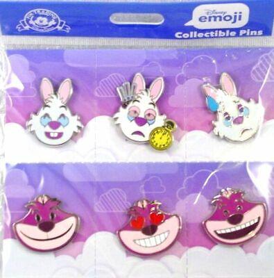 CHESHIRE CAT Sealed Booster Set of 6 WHITE RABBIT Disney Trading Pins EMOJI