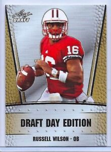 RUSSELL-WILSON-2012-LEAF-DRAFT-DAY-034-GOLD-EDITION-034-ROOKIE-CARD-SEATTLE-SEAHAWKS