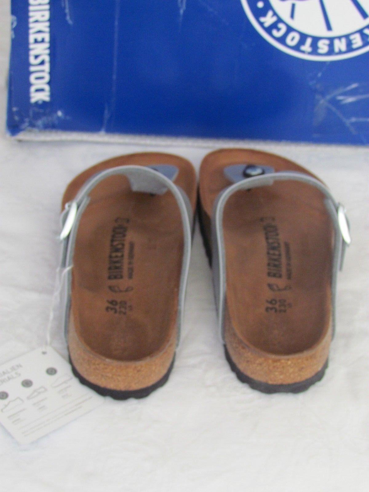 Nuevo Birkenstock Gizeh Señoras Plata Toe Post Mulas Sandalias UK Size 3.5