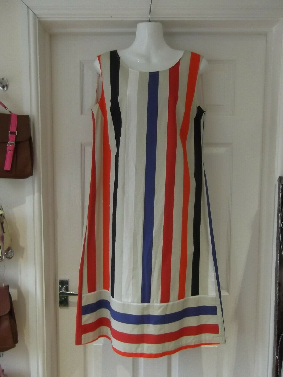 MY... MY The Italian Touch Dress NWT Red bluee White Beige Bold Stripe UK Size 14
