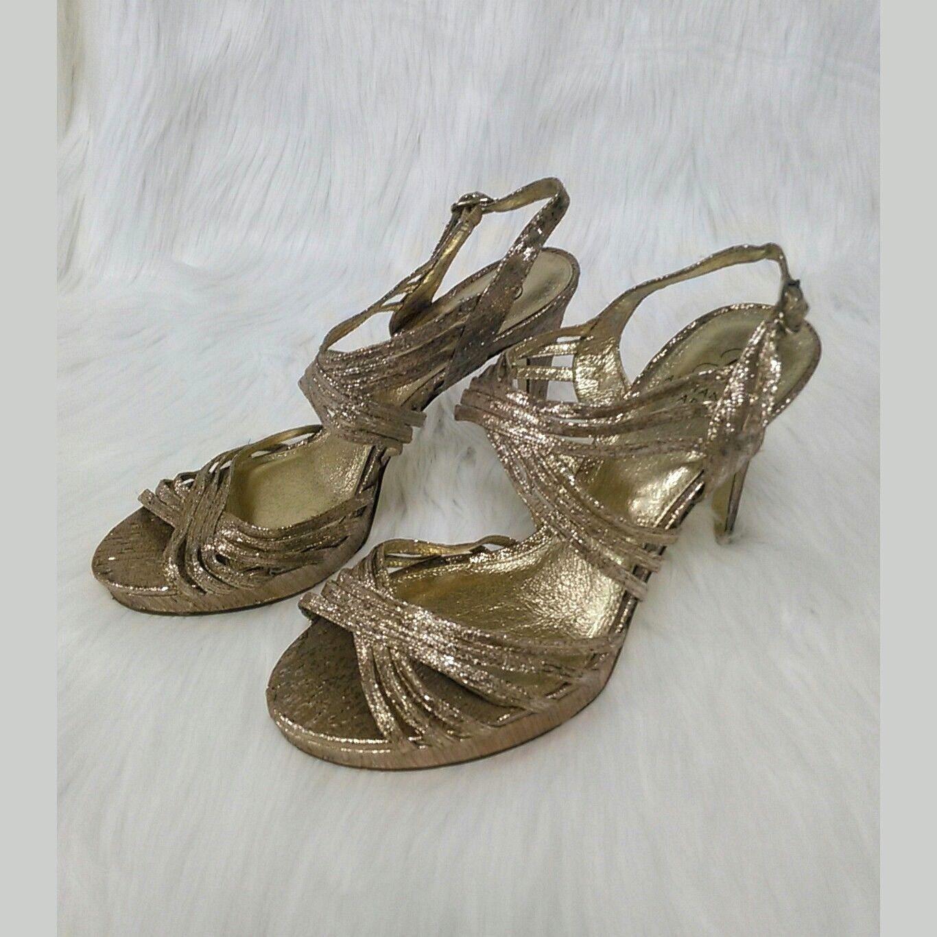 Adrianna Sandals Papell Womens Sz 9 Sandals Adrianna Heels Aiden Gold Shimmer Strappy 4
