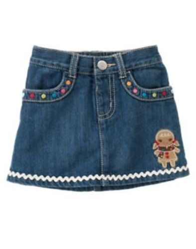 GYMBOREE WINTER CHEER DENIM GINGERBREAD GIRL HEM SKIRT 3 6 12 5T NWT