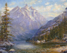 Grand Tetons and Jenny Lake  by Lewis A Ramsey   Giclee Canvas Print Repro
