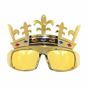 Gold king crown novelty fancy dress stag do party glasses ebay image is loading gold king crown novelty fancy dress stag do altavistaventures Gallery