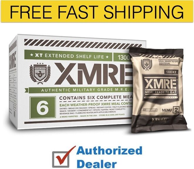 New XMRE 1300XT Meal Kit, Case of 6 Meals w Heater Military Grade, Free Shipping