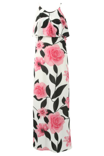 WOMENS LADIES SLEEVELESS STRETCH FLORAL PRINT FRILL DETAIL CAMI LONG MAXI DRESS