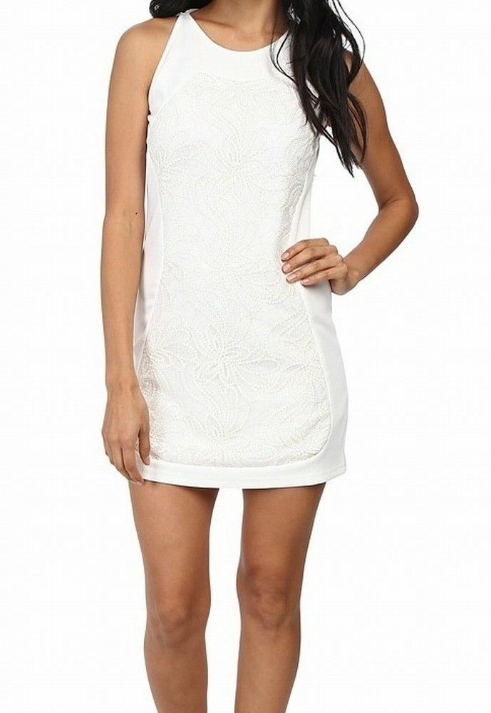 158 Kas New York White Sequined Women's Sheath Dress Size Medium Super Cute