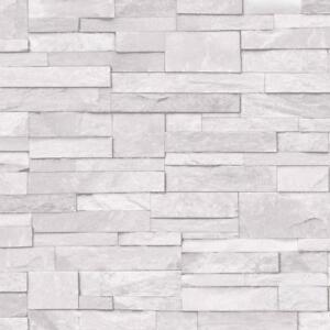 Grandeco Stone Brick Slate Grey 3D Realistic Effect Vinyl Wallpaper A17202