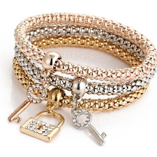 *UK* Ladies 3 set Rose Gold silver Gold lock key bracelet bangle jewellery gift