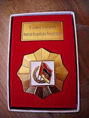 DSF Ehrenplakette 5 Jahre Kollektiv Deutsch Sowjetische Freundschaft Etui DDR