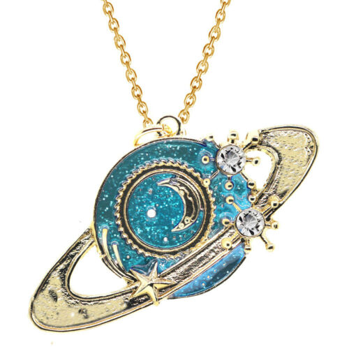 Fantasie Sammlung Gold Damen Mond die Kugeln Planet Anhänger Halskette N569
