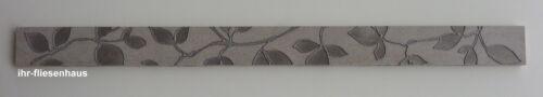 Feinsteinzeug Bordüre Levante Perla Listello Hellgrau m Blumenranke 5cm x 60cm