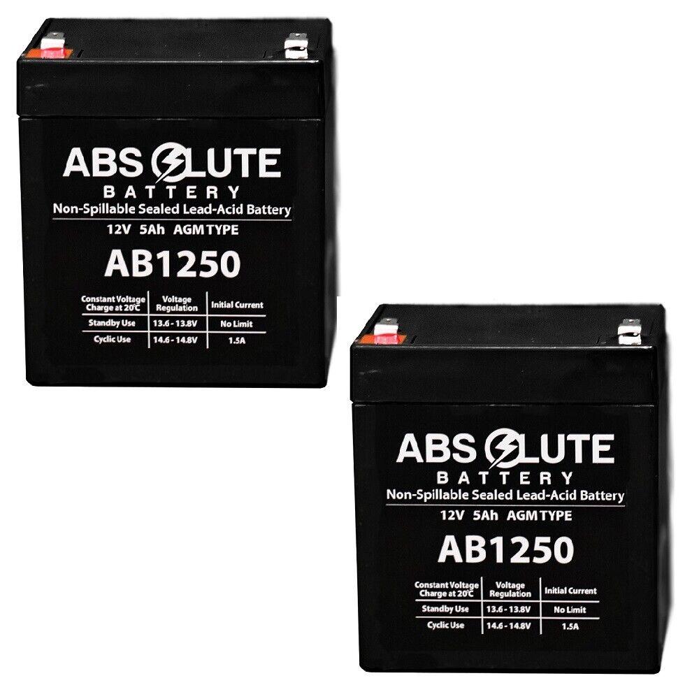 2PK NEW AB1250 12V 5AH Replacement Battery for Yuasa NPX-25FRF2, NPX25FR, NPH512