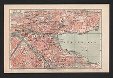Landkarte city map 1909: Stadtplan ZÜRICH, Massstab: 1 : 17.000
