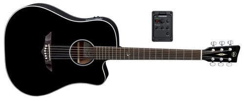 VGS Root RT-10CE, Dreadnought, E-Akustikgitarre mit Cutaway, schwarz