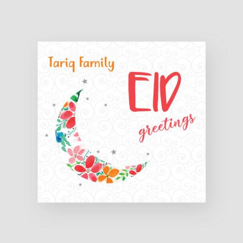 Islam Personalised Handmade Eid Mubarak Card Muslim Flowered Moon Crescent