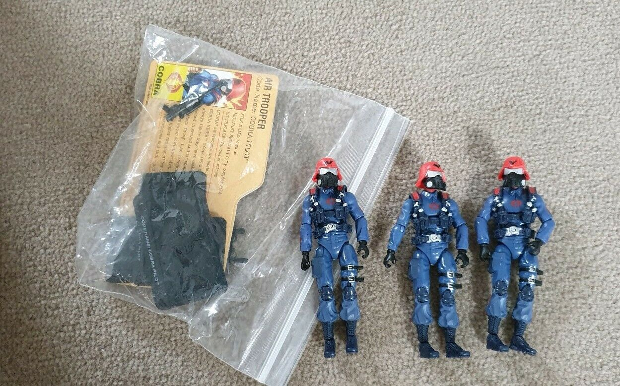 GI Joe cobra air trooper x3 x3 x3 with cards viper 5aa3bb