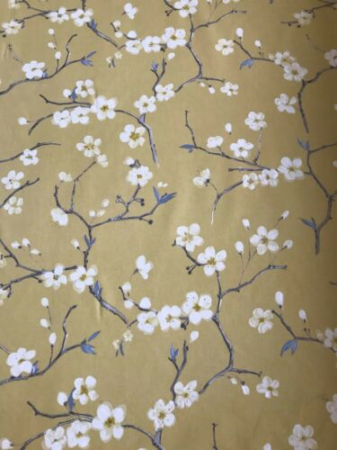 prestigious  curtain blind upholstery fabric MUSTARD YELLOW EMI BLOSSOM FLOWER