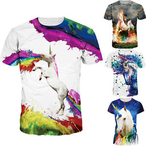 fda7cb2a7f Unisex Multi Color Short Sleeve Unicorn Printed T-shirt Men Women ...