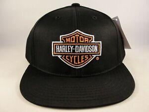 Kids-Youth-Size-Harley-Davidson-Vintage-Snapback-Hat-Cap-Black