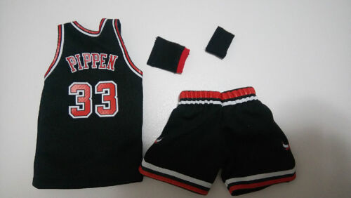 Custom 1//6 black  CHICAGO BULLS Scottie Pippen jersey 33  NBA TOYs away