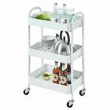 3 Tier Home Kitchen Storage Utility Cart Metalampabs White