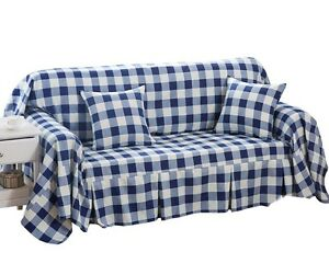 Details About (Navy Checkered) Furniture Slipcover Sofa Protector Cover,  190x260cm/75x102inch