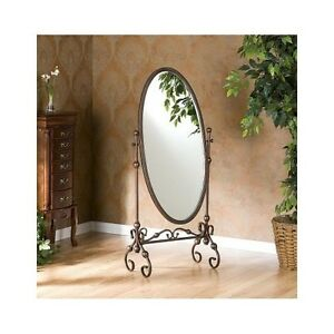 Antique Bronze Cheval Mirror Full Length Swivel Floor Oval
