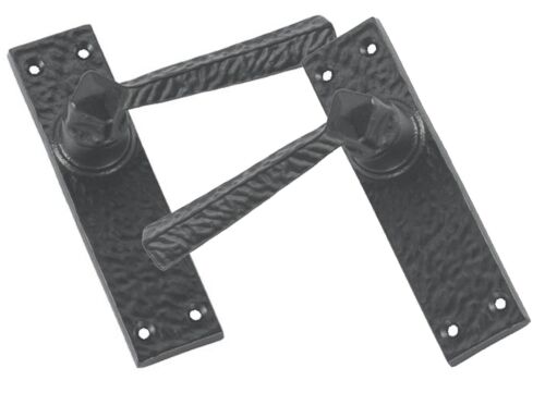 AB347 Rustic Door Handles without Key Hole Black Cast Iron