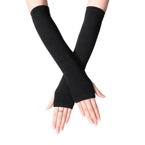 Women Girl Protection Arm Warmer Long Fingerless Stretchy Gloves Sleeves Mittens