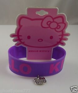 Hello-Kitty-Pink-rubber-with-dangle-charm-bracelet-purple