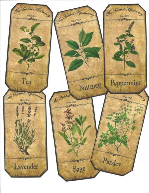 LOT OF~12 Vintage look LABELS~Grungy labels ~Botanical Labels~ set# 2