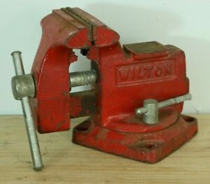 "Vintage WILTON Bench Vise Antique 3.5"" Jaws Red w/ Swivel ..."