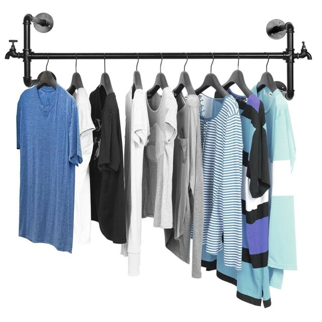 Clothes Hanging Bar Closet Rod Wall Mount Garment Rack Hanger Shelf Display New