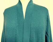 Talbots Woman Teal Waffle Weave Open Front 3/4 Sleeve Cotton Rayon Cardigan  2X