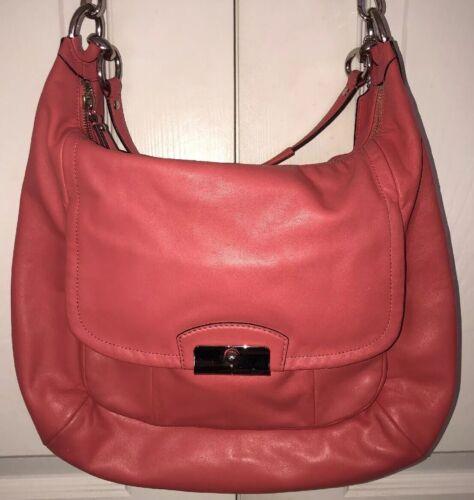 Pink Leather COACH Shoulder Bag Dual Strap Large