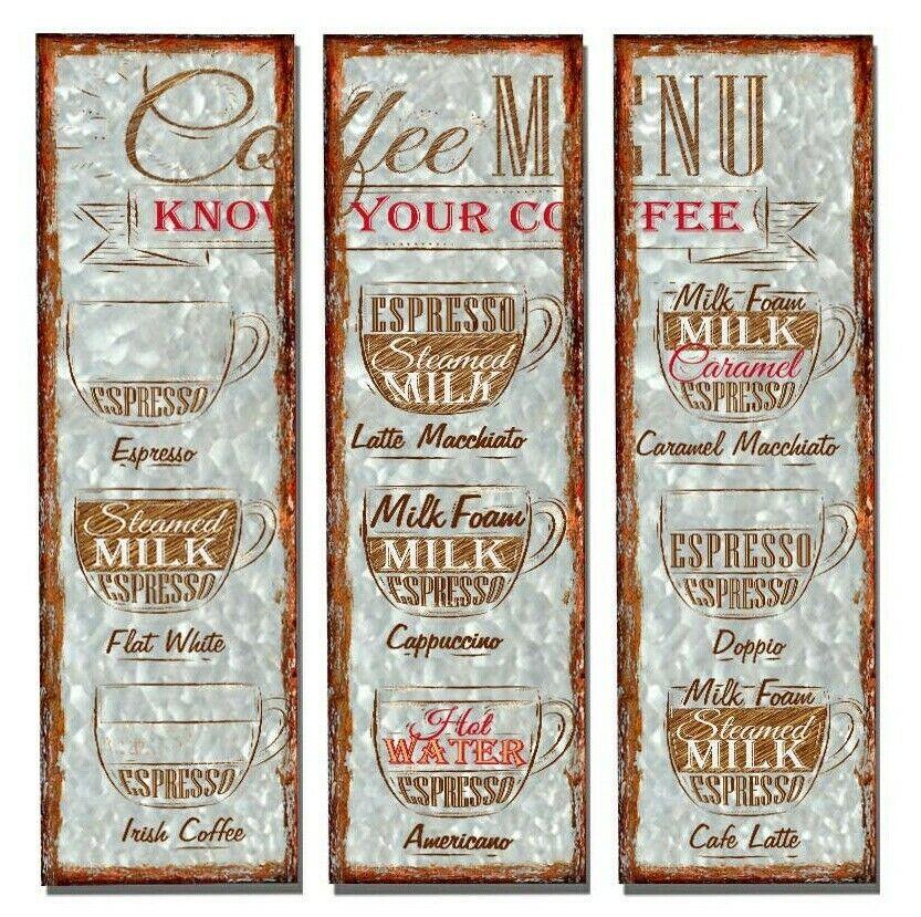 3 Set Caffè parte in metallo NOVITA 'PARETE targhe Cartello Hanger-VINTAGE CON DECOR