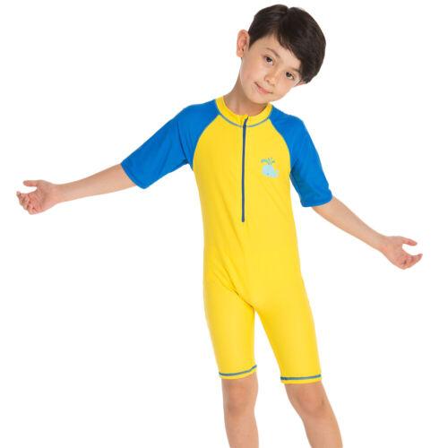 Kids Boys Short Sleeve Swimsuit Swimwear UV Sun Protection Rash Guard for Child