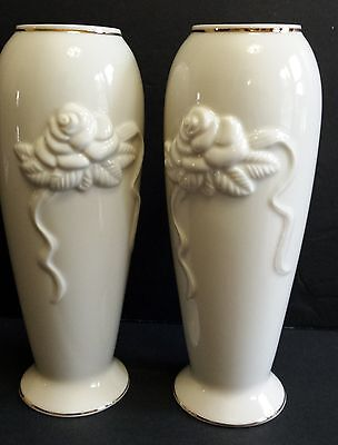 Lenox Set 2 Vases Embossed Rose Bud Gold Trim Vintage White Ivory Porcelain Ebay