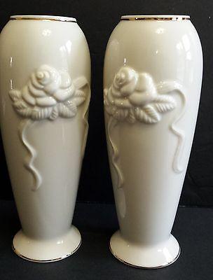 Lenox Set 2 Vases Embossed Rose Bud Gold Trim Vintage