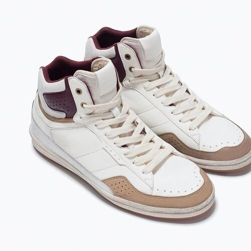 ZARA MEN BRUSHED HIGH-TOP SNEAKERS NEW WITH TAG SIZE IN ZARA BOX GIFT